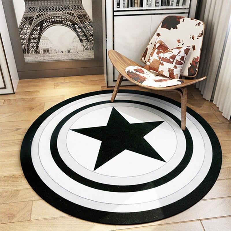 Captain America bouclier tapis rond tapis et tapis noir cinq étoiles Alfombras chambre salon tapis créatif décoration de la maison