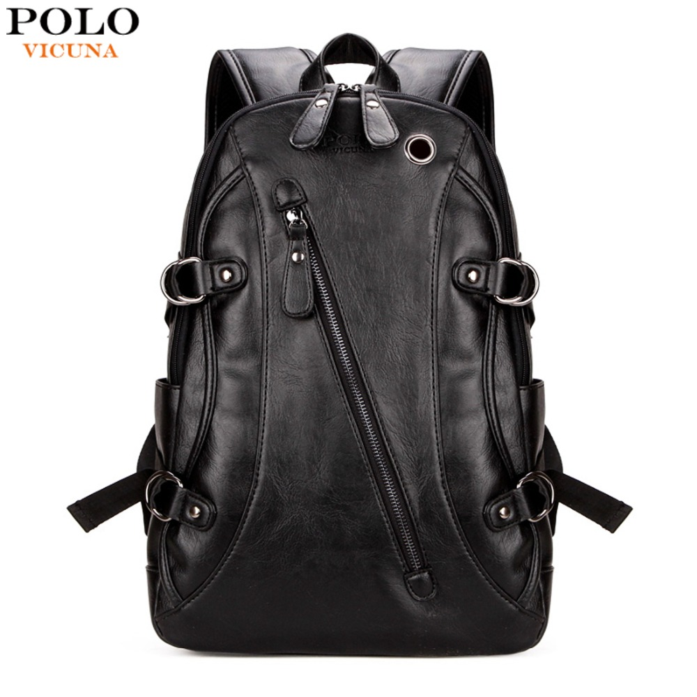 VICUNA POLO Famous Brand Men Laptop Backpack With Earphone Hole Casual Cool Men's PU Leather Rucksack Fashion mochila masculina vicuna polo promotion famous brand handbag high quality pu leather men tote bag borse classic sewing thread design men sling bag