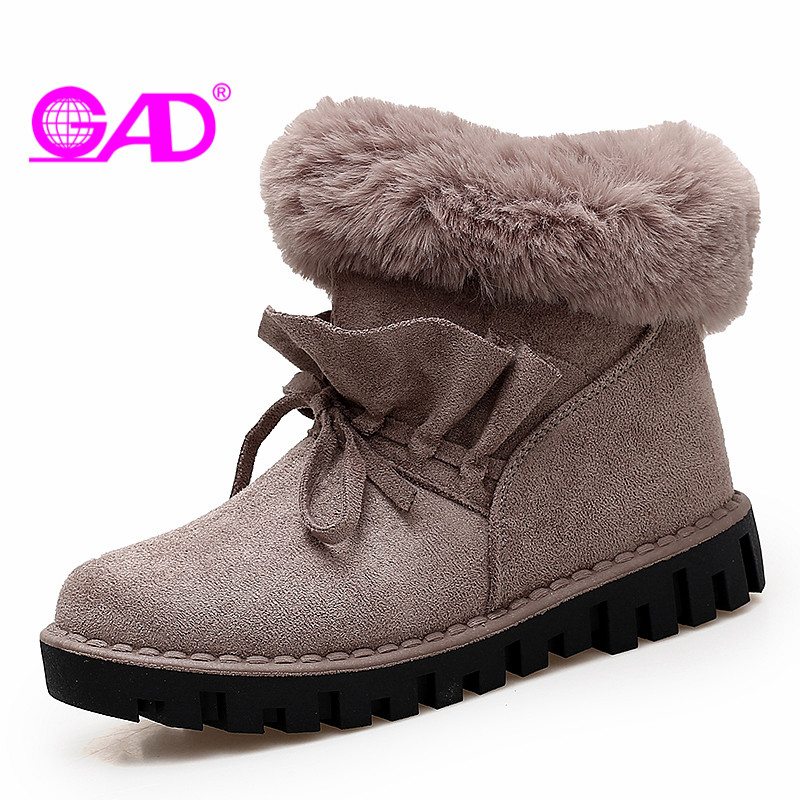 GAD Zipper Women Snow Boots New Fashion Casual Round Toe Women Winter Boots Warm Fur Comfortable Flat Shoes Women Ankle Boots winter woman boots lace up ladies flat ankle boot casual round toe women snow boots fashion warm plus cotton shoes st903