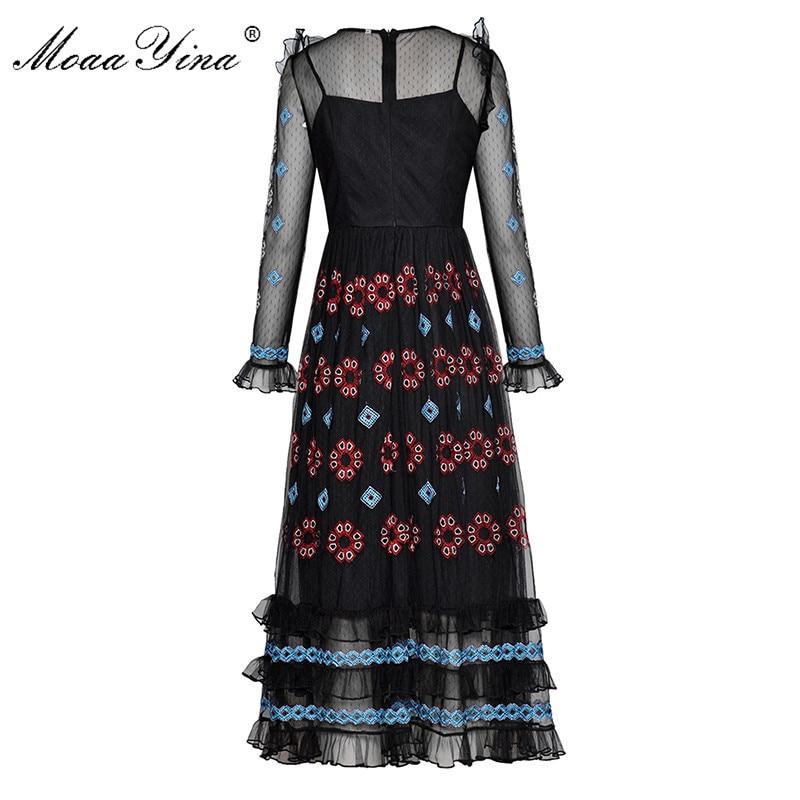 Piste Fashion Robe Designer Maille Broderie Des Longues Printemps Ruches Élégante Moaayina Noir Vintage Manches À Été Femmes 4qw5F5t