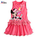 2015 New arrival Girls Dress cartoon Minnie Bow Polka Dot vest short-sleeved dress casual and comfortable 100% cotton baby girls