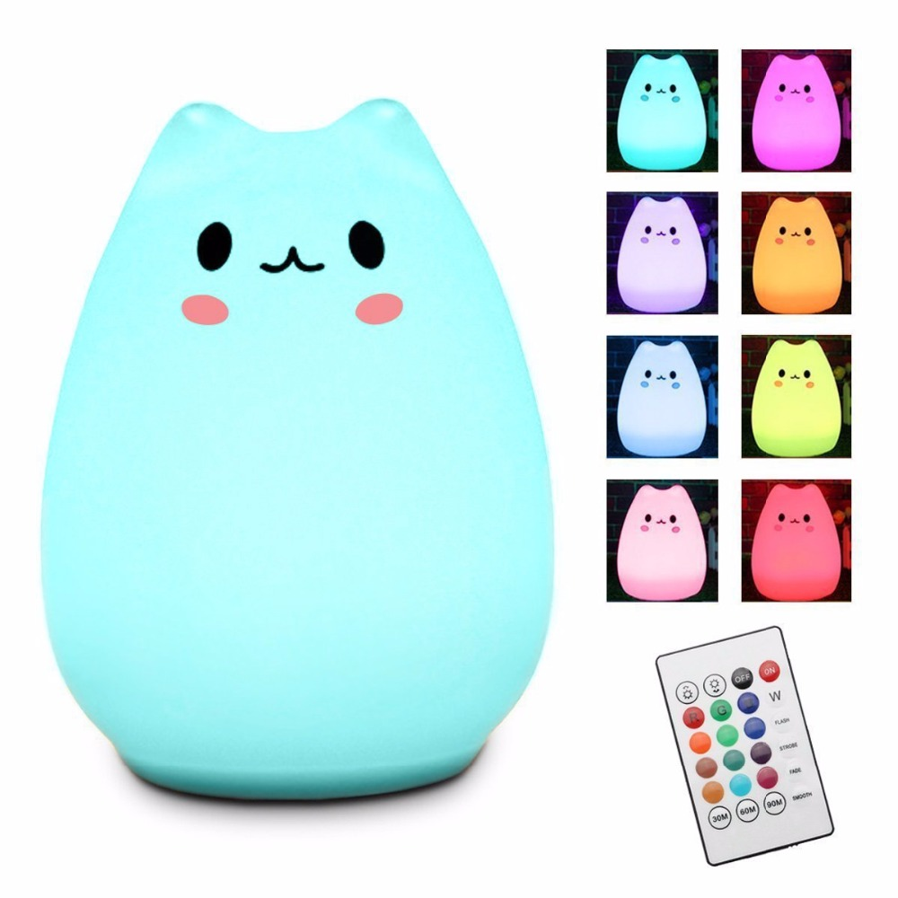 Rechargeable Baby Bedroom LED Silicone Night Light With Remote Control Child presents cute night light
