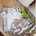 Новый 2017 V-Образным Вырезом вискоза шелковые женские пижамы спагетти ремень кружева сексуальный комплект пижамы pijamas mujer женщины лето пижамы Q963