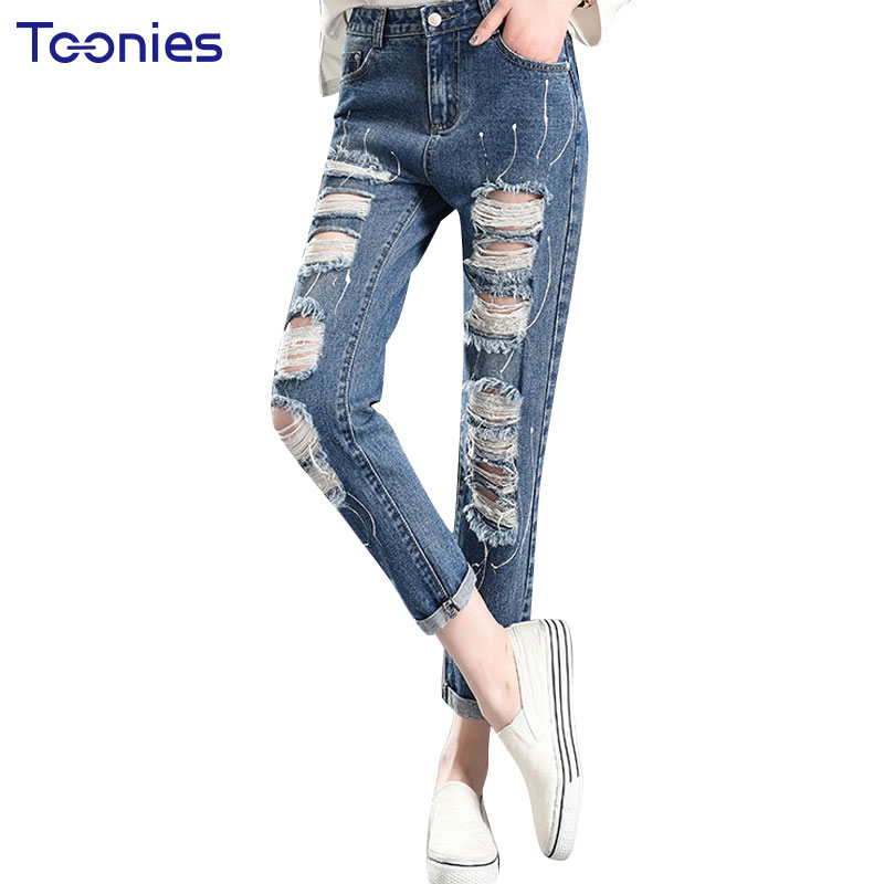 BF Loose High Waisted Jeans Female Tide Hole Knee Pants Nine 2017 New Spring Haren Pants Cotton Denim Female Sexy Girls Trousers