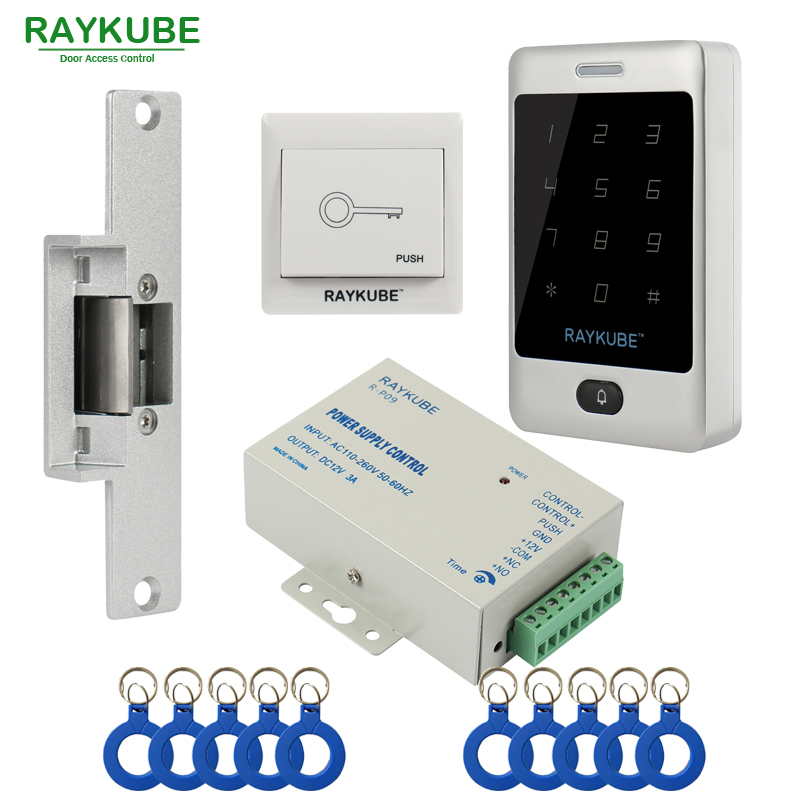 RAYKUBE Access Control Kit Electric Strike Lock + Access Control RFID Password Keypad +ID Keyfobs+Exit Diy Kit diysecur magnetic lock door lock 125khz rfid password keypad access control system security kit for home office
