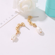 Irregular Round Freshwater Pearls Earrings for Women Baroque Gold Color Geometric Korea Fashion Jewelry Hanging Gift