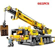 665 шт. городская Инженерная техника, строительные блоки, совместимые с Legoing Technic, Обучающие кирпичи, игрушки для детей, подарки