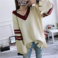 H.SA 2017 Women Sweaters and Pullovers Vneck Flare Long-sleeved Pullovers Loose Oversized Broken Vintage Robe pull femme hiver