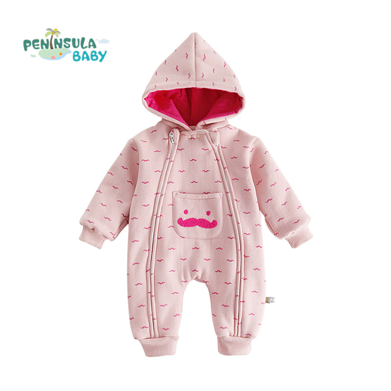 Cute Boy Girl Newborn Long Sleeved Baby Rompers Hooded Winter Infant Jumpsuit Casual Cartoon Moustache Kids Clothing Coverall infant cute cartoon dinosaur baby boy girl rompers soft cotton car printed long sleeve toddler jumpsuit kids clothes
