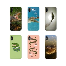 Suave transparente cubierta de la caja para Xiaomi Redmi 4A S2 nota 3 S 3 S 4 4X4 5X5 6 7 6A Pro Pocophone F1 dibujos animados de cocodrilo en el inodoro