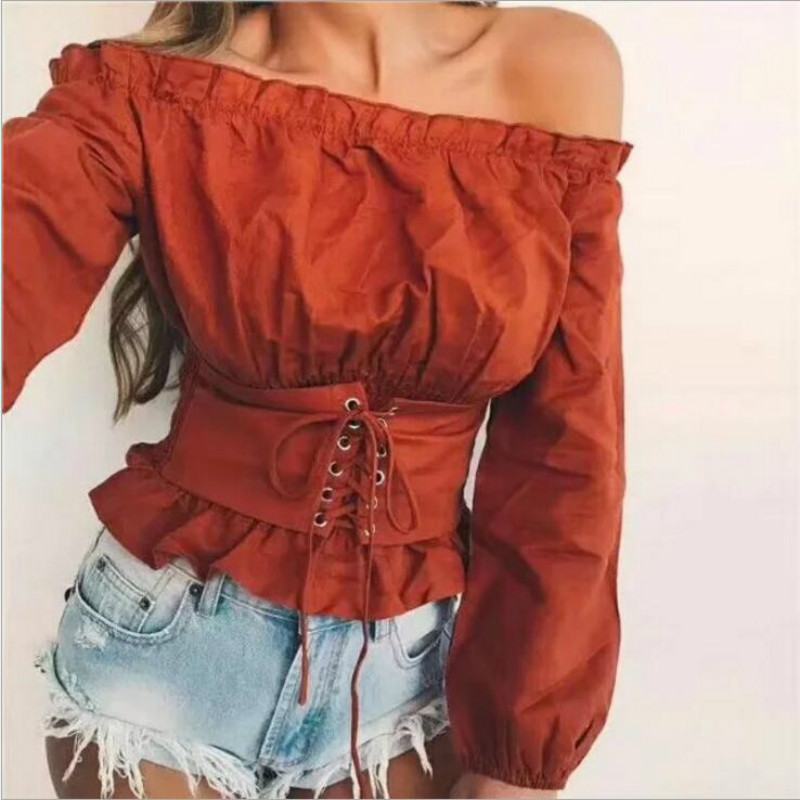 Off shoulder lace up sexy blouse shirt Women ruffle long sleeve blouse tops 2018 new vintage summer white slim blouse feminine