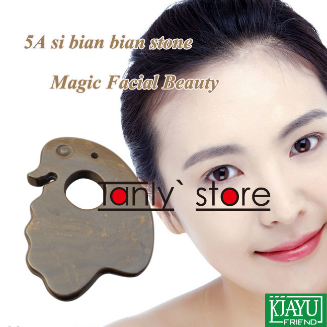 wholesale retail 5A grade Original Si Bin Bian stone massage guasha plate magic facial beauty kit duck shape 75x8mm in Massage Relaxation from Beauty Health