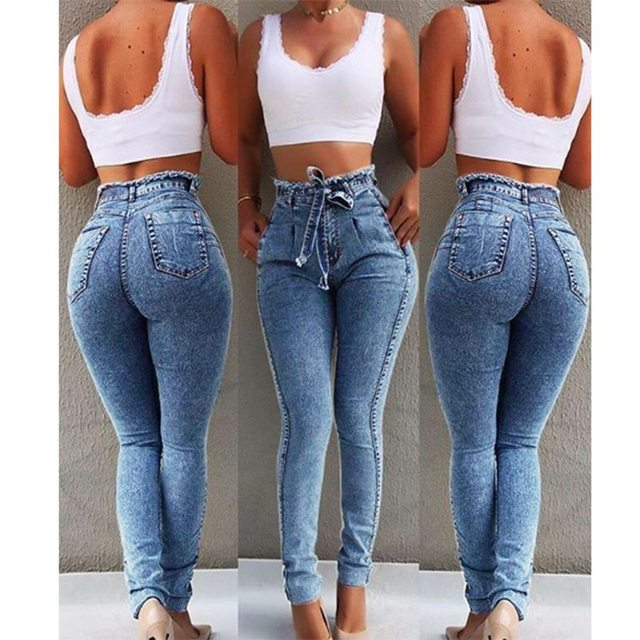 NORMOV Fashion Women High Waist Jeans Solid Color Slim Zipper Push Up Streetwear Jeans Plus Size High Stretch Pencil Jeans
