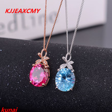 KJJEAXCMY boutique jewels 925 pure silver, Necklace of natural Topaz Blue powder stone pendant drop female send chain