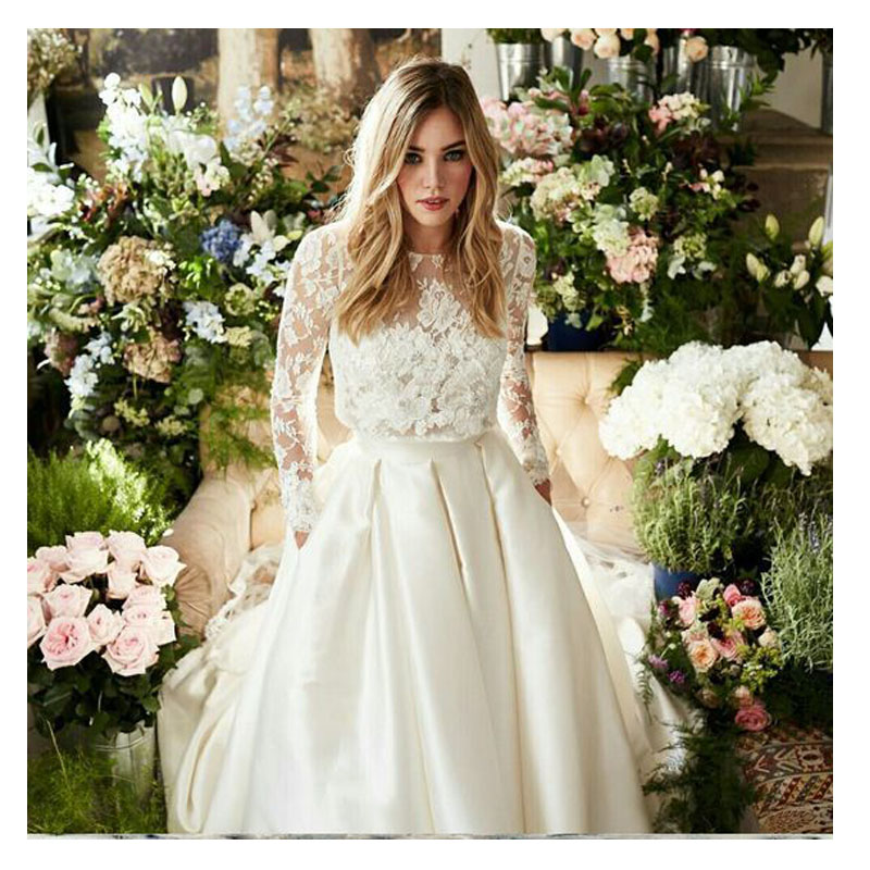 LORIE Wedding Dress Two Pieces Long Sleeve A Line Lace Top Bridal White Ivory Floor Length
