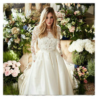 Лори свадебное платье Двойка платье трапециевидной формы с длинными рукавами кружевной топ свадебное платье белого цвета и цвета слоновой