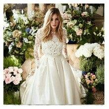 לורי חתונה שמלת שתי חתיכות שרוול ארוך אונליין תחרה למעלה כלה לבן שנהב מקיר לקיר הכלה שמלת חתונת שמלת 2021