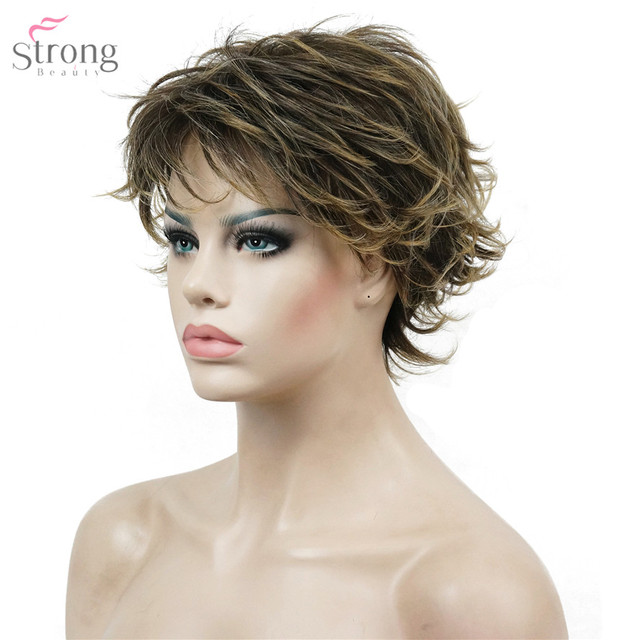 StrongBeauty Women s Short Straight Hair wig Layered Messy Hairstyles  Synthetic Full Wigs 8ff0283eed9d