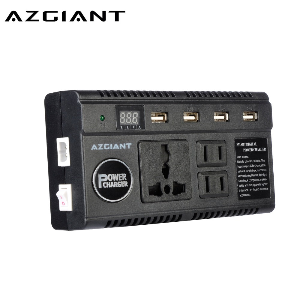 AZGIANT 200W Power Inverter DC 12V To AC 220V Car Converter With 4-Port USB Charging Ports (EU Plug) Auto Power Inverter Adapter 1000w car 12v dc to 220v ac power inverter with usb power port