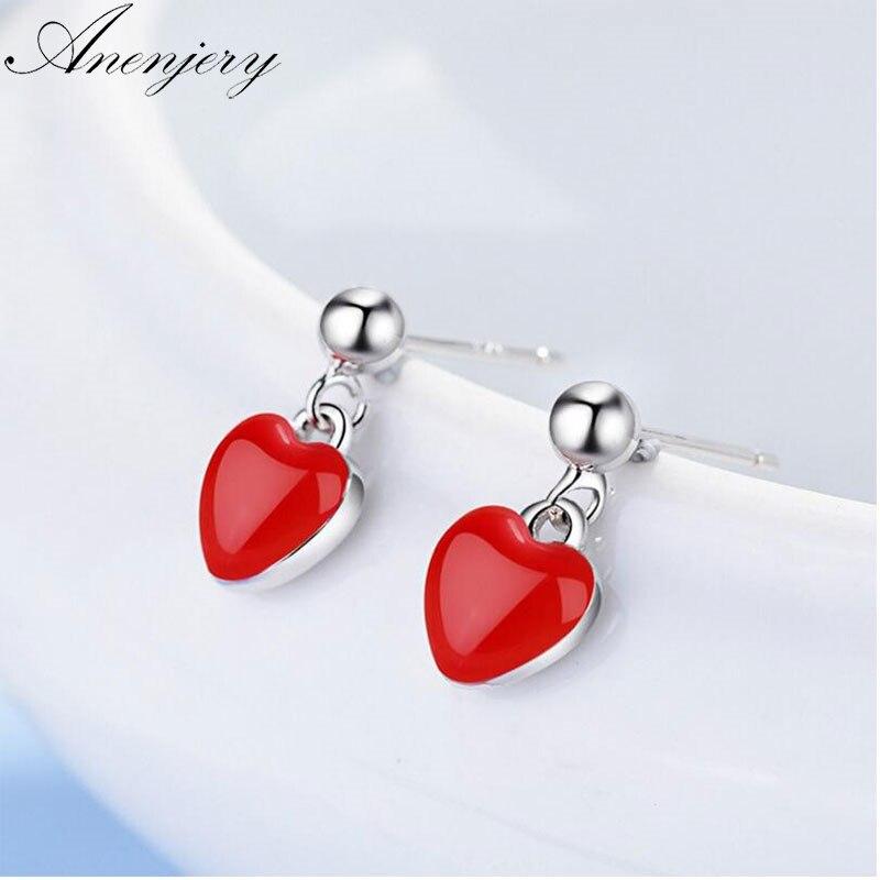 Pendientes anenjary simples de moda de Plata de Ley 925 con borlas y corazón rojo para mujer, regalo de Amiga, S E496 oorbellen|Pendientes|   - AliExpress
