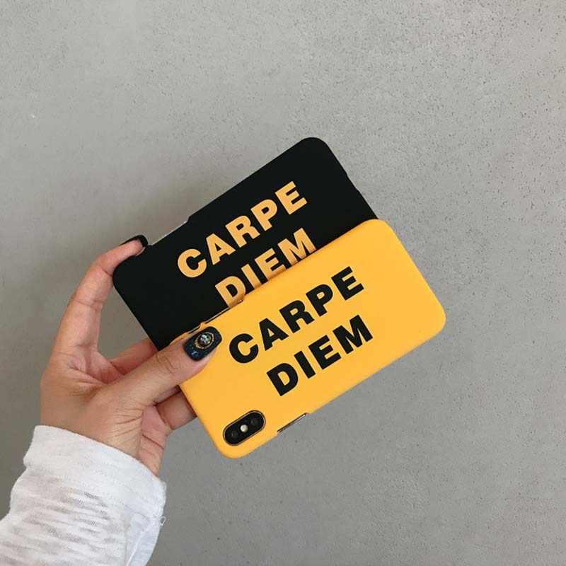 Простая английская буква CARPE DIEM английская версия Чехол для iPhone X XR XS Max 6 6S 7 8 Plus матовый жесткий пластик задняя крышка Coque