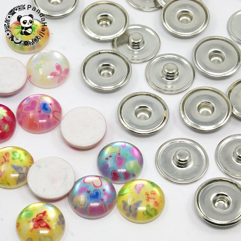 ᐅDIY Snap botones, plano redondo impreso Cabochons de la resina y ...