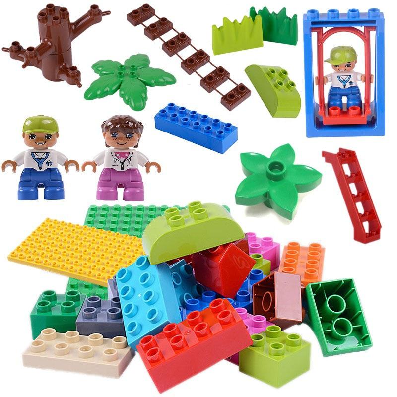Tamanho grande blocos de construção acessórios compatíveis com duploed diy bloco peças figura construção labirinto corrida pista crianças brinquedo presentes
