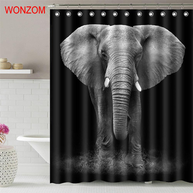 WONZOM New Elephant Shower Curtain Modern Animal Waterproof Curtains For Bathroom Decoration Cortina De Bano 2018