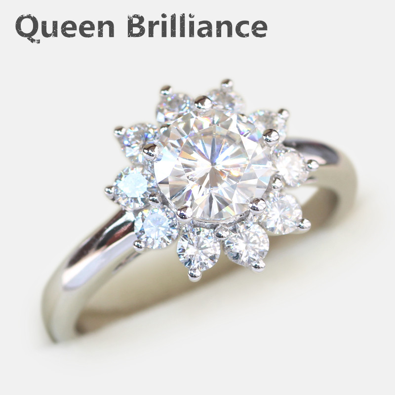14K 585 White Gold 2 Carat tcw No Less Than GH Color Round Brilliant Lab Grown Moissanite Diamond Engagement Rings for Women