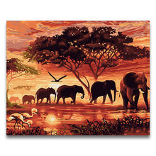 diy Coloring paint By Numbers Animal Sunset African elephant herd pictures Paintings with kits package on canvas(China)