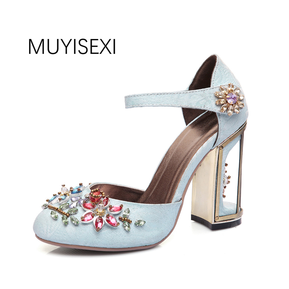 Woman Mary Jane Shoes Velvet with Rhinestone 7cm/9cm Strange Style Heel Shoes Wedding Party Shoes size 33-43 MENG03 MUYISEXI mary jane sterling trigonometry for dummies