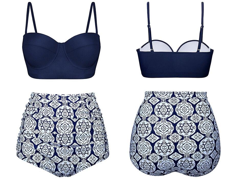 HTB1k2F8JeGSBuNjSspbq6AiipXaX Push Up Women Swimsuit High Waist Bikinis Plus Size Swimwear Vintage Bikini Set Bathing Suits Retro Floral Beach Wear Biquini