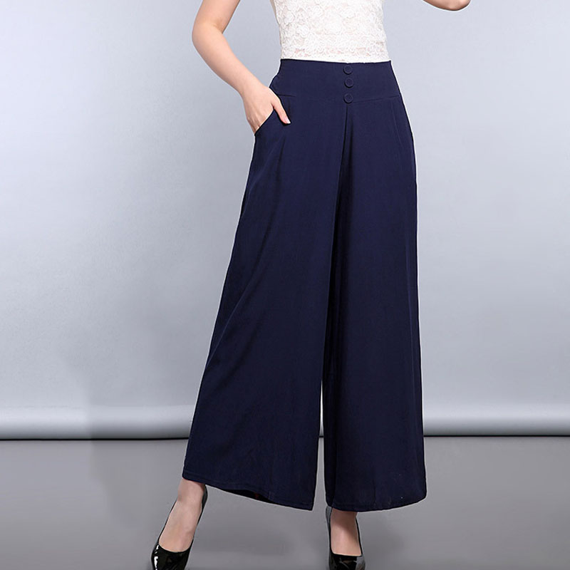Chinese Women Navy Blue Button   Wide     Leg     Pants   Loose Cotton Linen Ankle-Length Trousers 2018 Spring Elastic Waist   Pant   XXL-XXXL