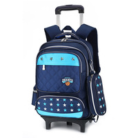 Removable Children School Bags With 3 Wheels Stairs Kids Boys Girls Trolley Schoolbag Luggage Book Bags