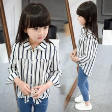 girls spring summer blouses kids turn down collar long sleeve striped casual shirt baby fashion loose clothes children tops 2-7T