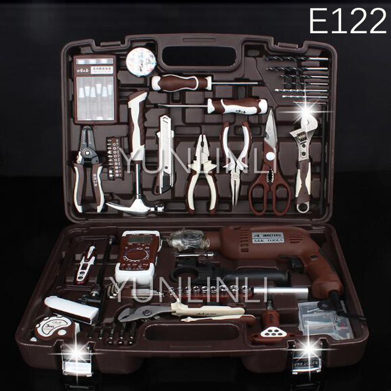 Hardware Toolbox Set Maintenance Electrician Set Multifunctional Household Manual Combination Electric Drill E122 цены