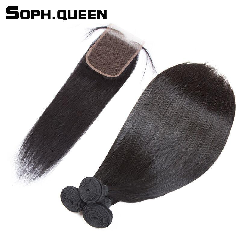 Soph queen Peruvian Virgin Hair Bundles With Closure Straight Human Hair Bundles With Closure Double Weft