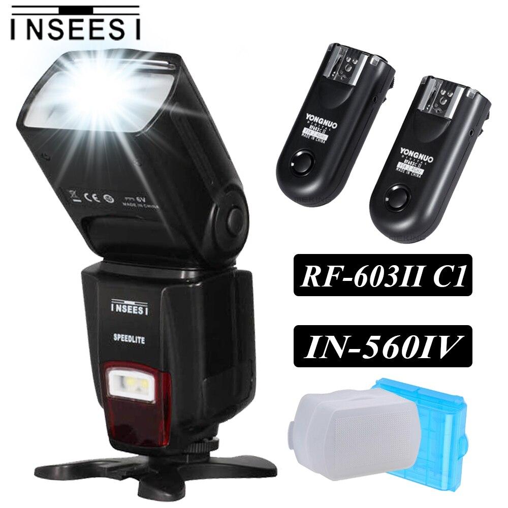 ✓Inseesi IN-560IV flash inalámbrico speedlite y RF-603 II C1 ...