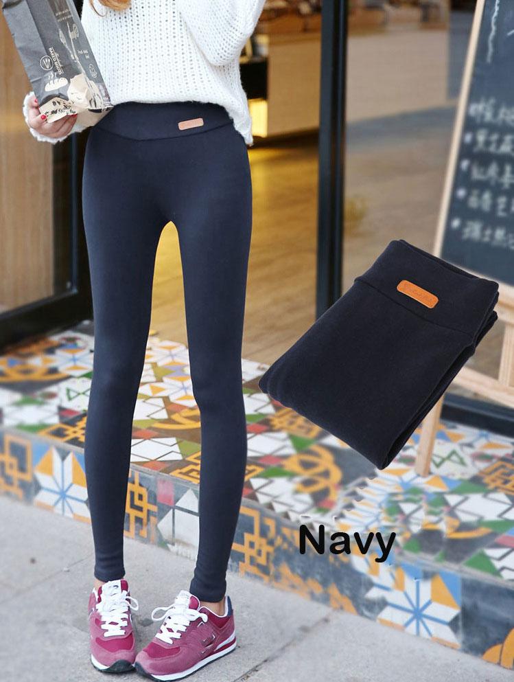 BIVIGAOS New Womens Casual Thicken Nine Pants Leggings Waist Leather Lable Elastic Cotton Leggings Pants Female Women Clothing 11