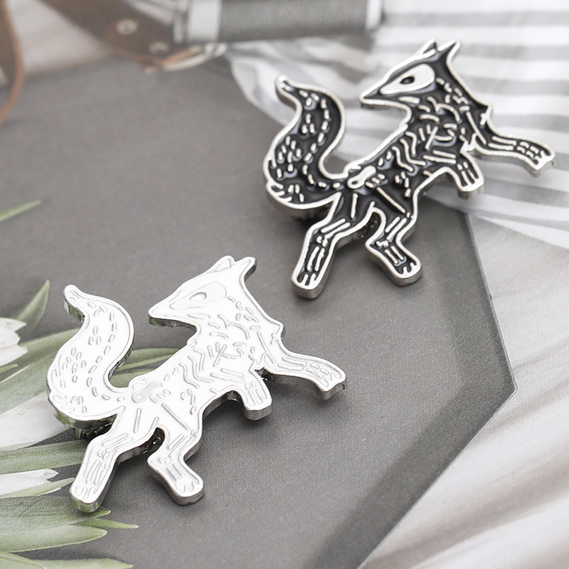 Skeleton Fox Enamel pin Cartoon Animal White Black Fox Brooches Badge Lapel Pin Icon Dark Bone Fox Pins Jewelry Gift for friends in Brooches from Jewelry Accessories