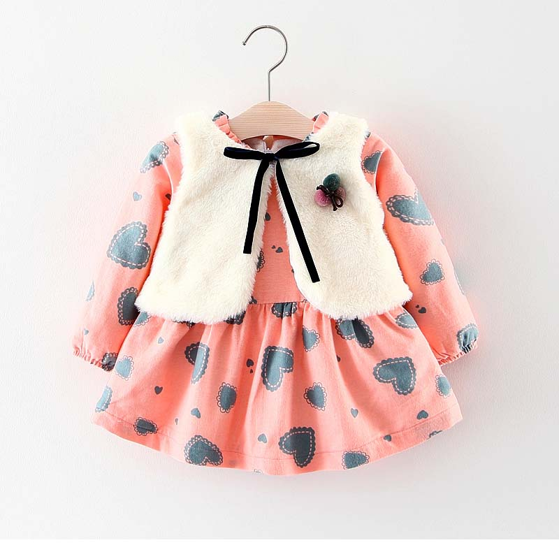 Humor Bear Baby Girl Clothes  Winter Baby Girls Princess Dress Long sleeve dress Party Dresses