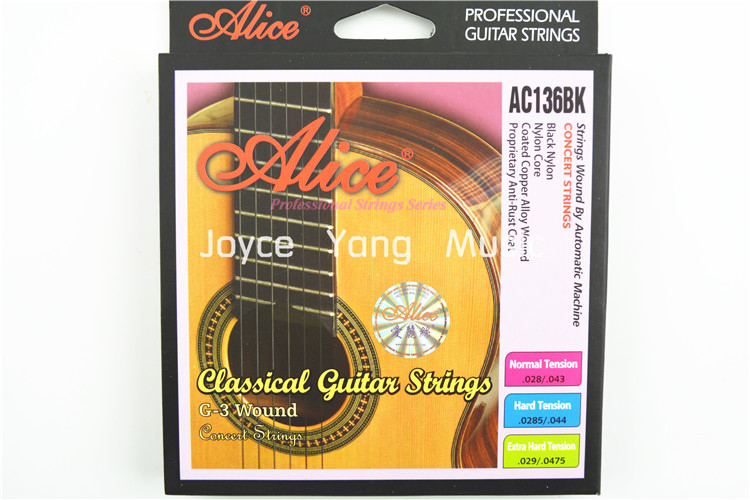 Alice AC136BK Normal/Hard Black Nylon Strings Classical Guitar Strings 1st-6th Strings Free Shipping olympia brand classical guitar string 1 set 6 strings high quality clear nylon strings normal or hard tension original