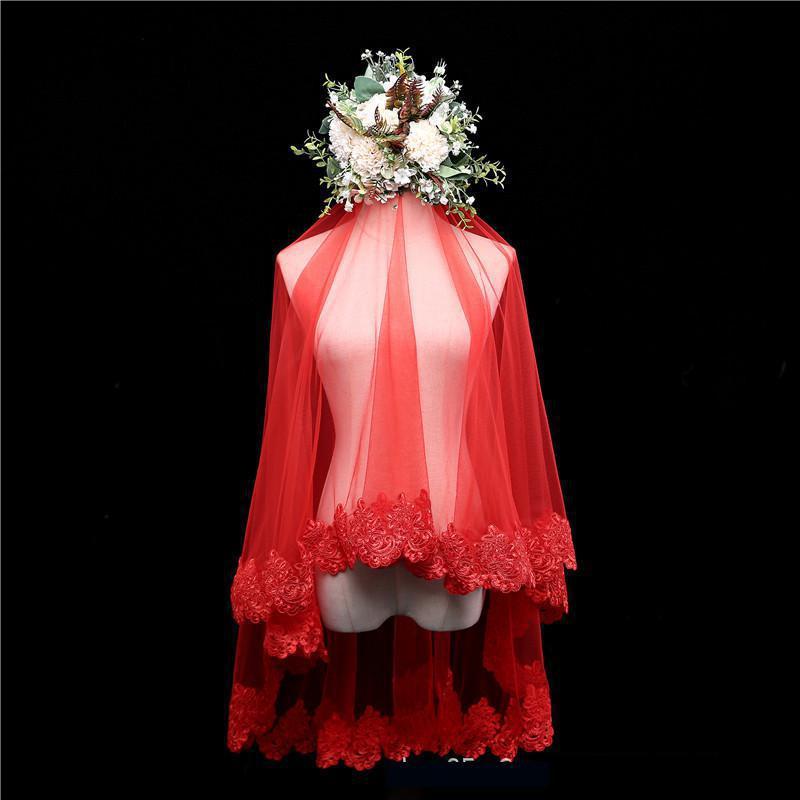 100% Waar 2018 Rode Bruiloft Sluier Elegante Kant Applique Velo De Novia 2018 Tulle Bridal Veils Gorgeous Bruiloft Accessoires Snelle Levering C Mooi En Charmant