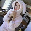 Autumn Winter 2017 Flannel Fleece Sleepwear Girl Cosplay Rabbit Ears Lolita Lounge Wear Sexy Womens Nightdress Hooded Home Loose