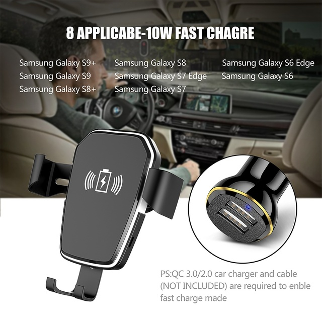 CASEIER Wireless Charger For iPhone XS Max X XR 8 Plus Car Mount QI Fast Charging For Samsung S9 S8 S7 Car Phone Holder in Car 5