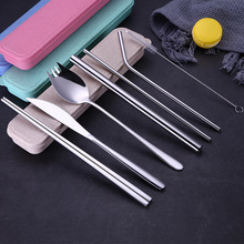 Portable Stainless Steel Cutlery Set Chopsticks Fork Knife Spoon Set with Reusable Straw Dinnerware Set Travel Camping Tableware 3 in 1 abs folding dinnerware cutlery fork chopsticks set with storage box outdoor kamp camping hiking traveling tableware set