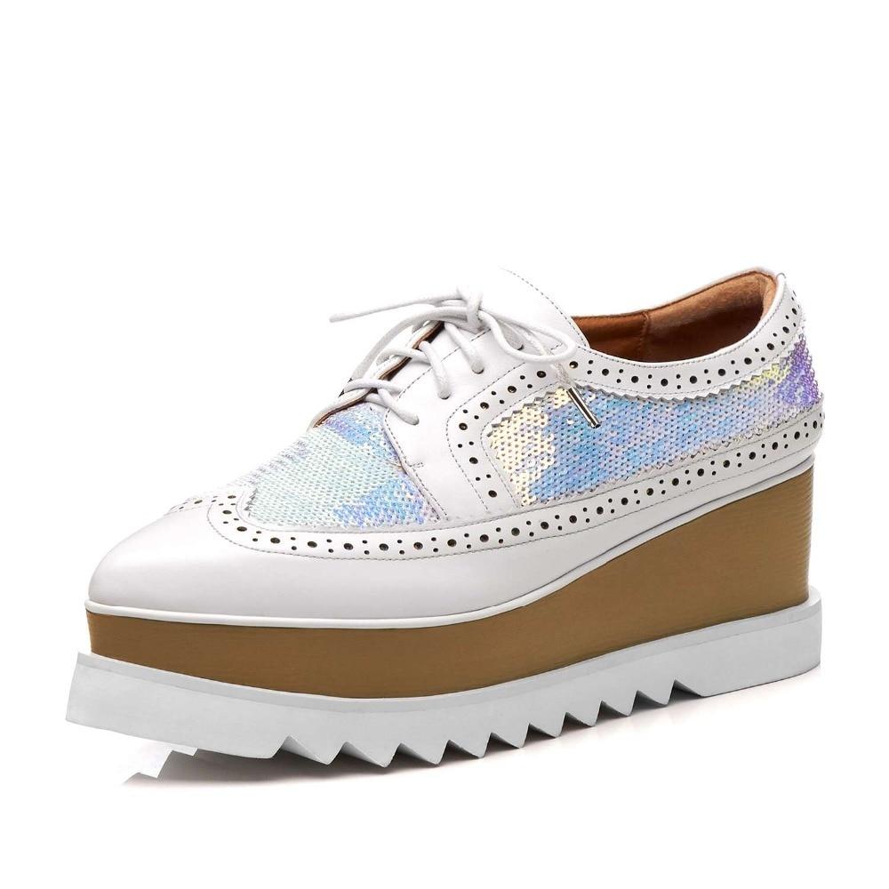Lenksien в сдержанном стиле туфли на танкетке; обувь на платформе; обувь из кусочков кожи с острым носком на шнуровке женские туфли лодочки из натуральной кожи в стиле «панк», повседневная обувь для свидания, L18 - 2