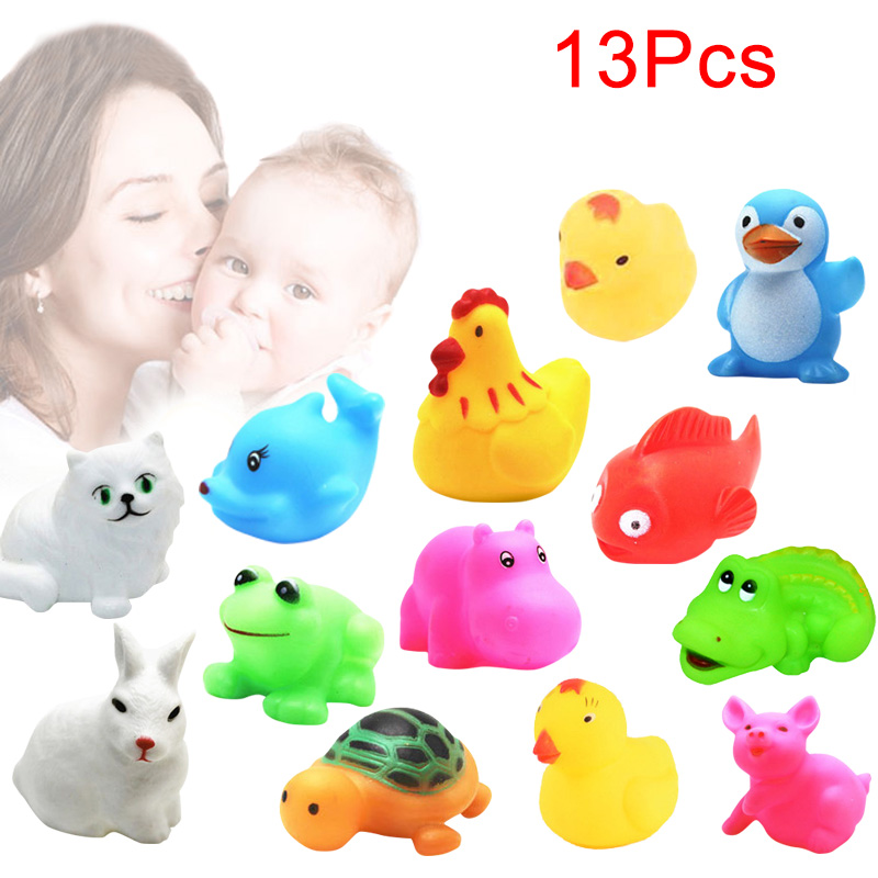 13Pcs Bathtub Toys Mixed Squeeze Squeaky Animals Colorful Soft Rubber Bathing Float Toys for Baby Kids YH-17