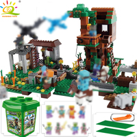 HUIQIBAO Toys 900pcs Mine Mountain Village Building Blocks Figure For Children Minecrafted Farm Town with dragon Legorreta Brick
