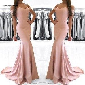 Image 2 - Vestidos de dama de honor con hombros descubiertos, sirena, Cremallera larga, tren de barrido trasero, sencillos, Vestidos para Fiesta de graduación, baratos, 2020